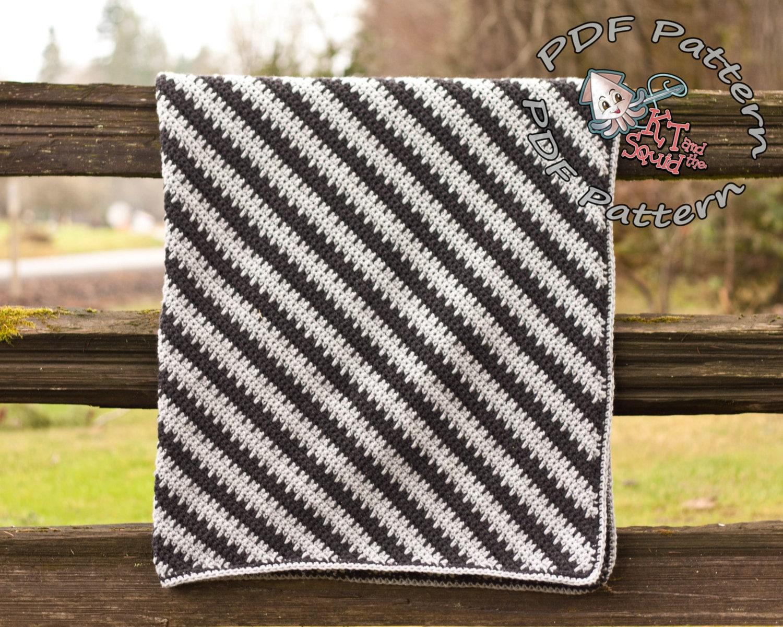 Crochet afghan pattern, diagonal stripe blanket pattern, crochet ...
