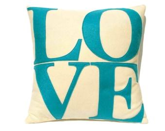 LOVE Throw Pillow Cover Appliquéd in Aqua Turquoise on Antique White eco-felt 18 inches