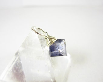 Sterling Silver Charms - Natural Gemstone Iolite Pendant - Water Sapphire Iolite Stone Jewelry - Wire Wrapped Jewelry Handmade - JustDangles