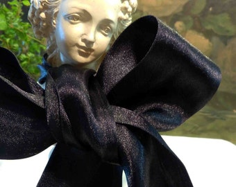 """Midnight Black Double Faced 2"""" Satin Ribbon By The Yard"""