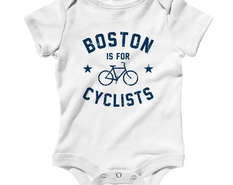 Baby Boston is for Cyclists Romper - Infant One Piece - NB 6m 12m 18m 24m - Boston Baby - 4 Colors