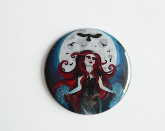 Large Fridge Magnet - The Morrigan - Celtic Goddess Pagan Gothic Goth Wicca Wiccan Raven Queen Dark Art Fantasy Alternative Witch Witchcraft