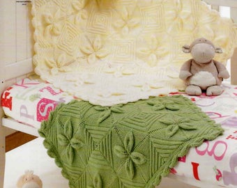 King Cole Knitting Pattern 3703~Leaf Lace Pram & Cot Blankets~DK