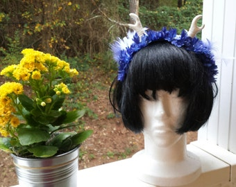Adult / Child Fairy Flower Crown Fascinator Headband - White Horns, Royal Blue Flowers, Blue Feathers, Cosplay, Costume, Faire, Wedding