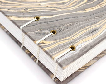 Unlined Journal - Lay Flat Journal - Gray and Gold - Marbled/Marbelized Paper - 160 pages - handbound by Ruth Bleakley