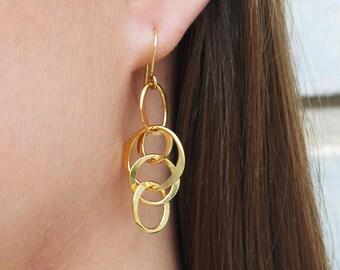 Gold Statement Earrings-Gold Earrings-Hoop Earrings-Birthday Gift-Gold Jewellery-Statement Earrings-Handmade Earrings-Gold Drop Earrings