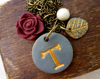 Letter necklace - Shabby Chic - Dark Grey and Gold - Burgundy Rose
