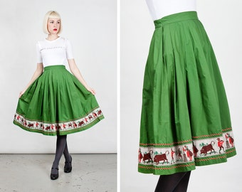 Vintage 1950s Green Cotton Circle Skirt with Dutch Farm Scene