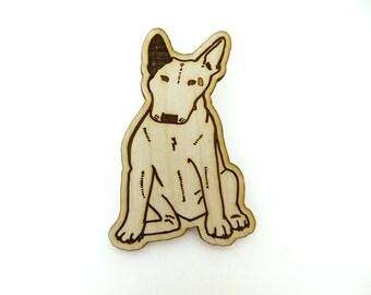 Bull Terrier Brooch, bull terrier pin, laser etched dog brooch, lasercut wood brooch, bull terrier gift, cute pinback dog brooch