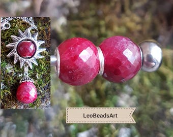"""Central ruby charm bead with silver core for author's silver charm """"Sun"""" from LeoBeadsArt"""