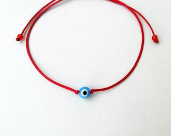 Evil eye bracelet, Red string Sphere glass bead Unisex Adjustable Simple Good luck Minimal Waxed cord Ethnic Stack spiritual gift Mal de ojo