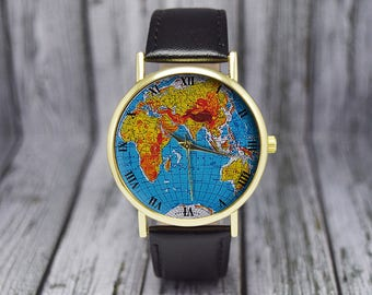 Earth watch etsy earth watch map globe watch leather watch ladies watch mens watch gumiabroncs Image collections