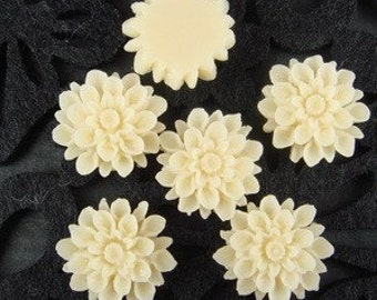 37-00-691-CA   6 pcs  Natural Shape Chrysanthemum Cabochons - Pale Ivory