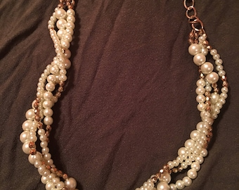 Pearl and gold beaded multi strand necklace
