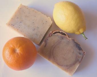 Orange soap, lemon soap, all natural lemon soap, all natural orange soap, vegan natural soap, handmade citrus soap, oily skin soap, soap