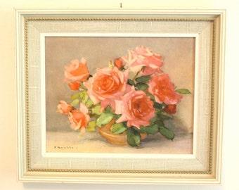 Vintage Pink Roses Framed Print