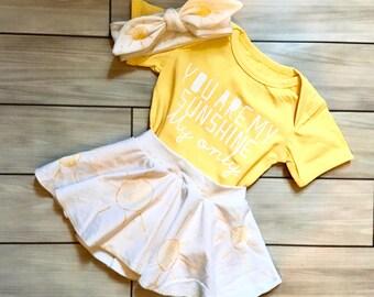 Infant and Toddler Sunshine Skirt & Headband
