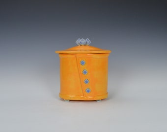 Stoneware keepsake box with lid,  pottery trinket box with lid, ceramic jewelry box with lid