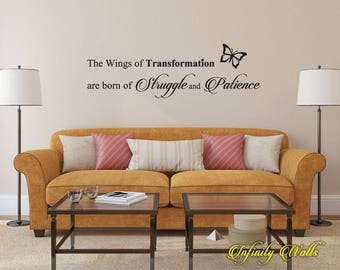 The Wings of Transformation - Wall decal quote - Home Decor - Inspirational Quote Decal - Motivational Decals - Butterfly Decor