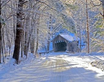 "Vermont winter scenic, covered bridge in winter, Charlotte VT, Roscoe Rd. covered bridge, winter woodland, Title: ""Quiet Winter Morn' """