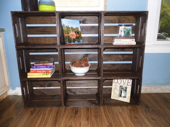 items similar to 5pc contemporary wooden crate bookshelf. Black Bedroom Furniture Sets. Home Design Ideas