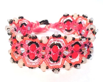 Pink & Coral Color Block Beaded Frienship Bracelet | Embellished Woven Bracelet