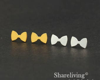 4pcs (2 Pairs) Silver, Golden Bow Stud Earring, Nickel Free, High Quality Brass Earring Post - ED441
