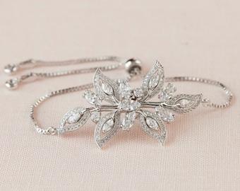 Crystal Bridal Bracelet, Crystal Wedding bracelet, Swarovski Crystal, Rose Gold, Wedding Jewelry, Bridal Jewelry,  Linneah Bracelet