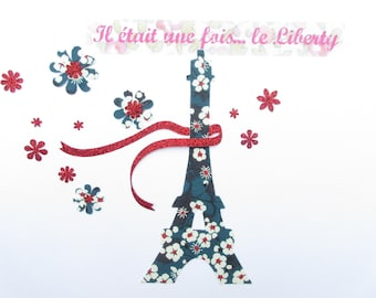 Applied fusible liberty Eiffel Tower liberty Mitsi blue + red pattern sequined fabric fusible patch iron on patch