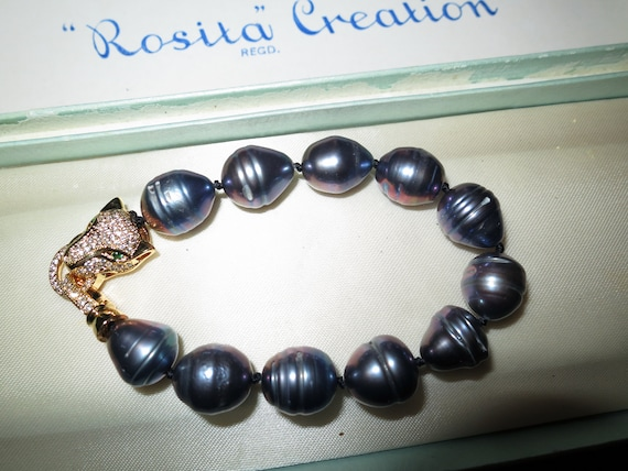 Lovely new 12-14mm cultured freshwater black baroque pearl bracelet panther clasp
