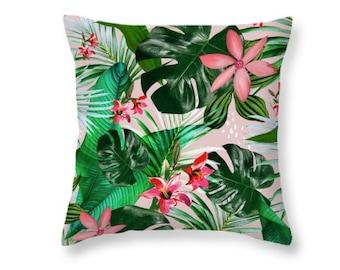Tropical leaf pillow, Hawaii, beach decor, cushion, durable fabric, throw pillows - different sizes