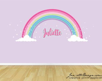 Pink Sparkle Rainbow Fabric Wall Sticker,Girls Pink Rainbow Name Wall Decor,Removable Wall Decals for Girls Rainbow Bedroom