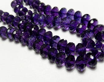 Amethyst Gemstone Bead. Faceted Rondelles, Semi Precious, Natural Gemstone Bead. Heat Treated. 10x6mm  Your Choice