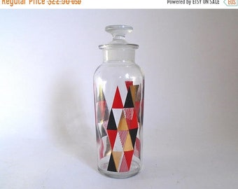 Sale - Vintage 1970's Mod Glass Decanter Bottle with Ground Stopper with Geometric Design by L L Glass - Barware Bar Decor