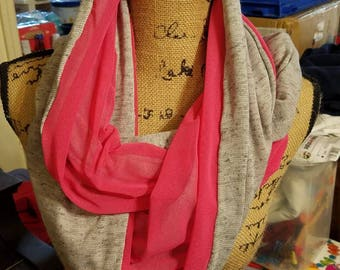Pink and gray reversible infinity scarf