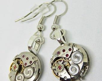 Steampunk ear gear - Vintage - Watch movement - Steampunk Earrings - unique gift for her
