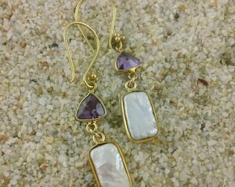 Amethyst and Pearl Earrings, Amethyst earrings, Pearl earrings
