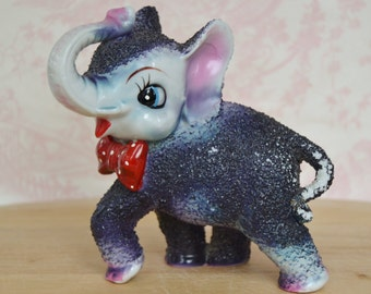 Vintage Dark Purple Elephant with Bow Tie Figurine by Arnart