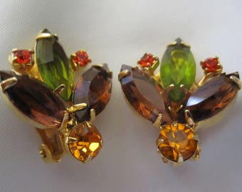 AUTUMN SHADES RHINESTONE Clip Earrings