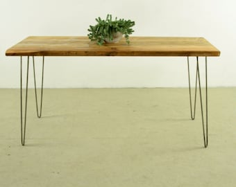 THE KITCHEN KENT - Beautiful reclaimed wood kitchen dining table with stable hairpin legs in striking raw Steel