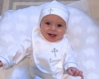Baptism Bib-Christening Gift-Dediation Bib-Personalized Bib-Pima Cotton Bib-Fancy trim Bibs