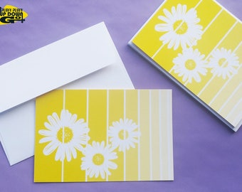 Yellow Daisy Easter Flowers Cards (set of 6), Spring Flower Daisy Note Cards & Floral Stationery, Daisy Flower Greeting Cards