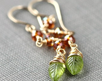 Peridot Crystal Earrings August Fall Wire Wrapped Jewelry Orange Swarovski Green 14K Gold Fill Fashion - Autumn Leaf