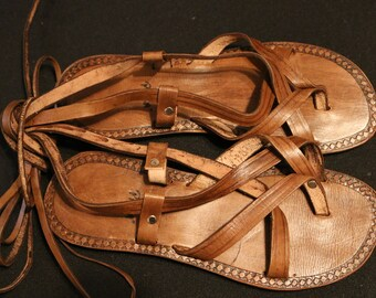 Strappy Tie - Up Leather Women's Sandal