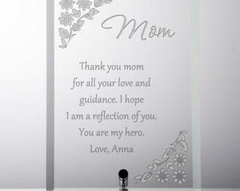 Personalized Glass Plaque for Mom