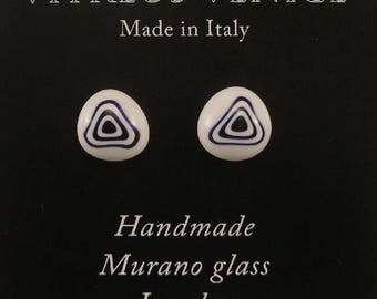 Murano Glass Millefiori stud earrings, fused glass ear post, surgical steel, Millefiori earrings, Made in Italy