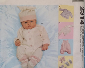 McCall's 2314. Layette patterns for infants and preemies. Sizes from 3-4 lbs up to 16-18 lbs. Includes clothes, booties, diaper cover, etc.