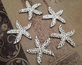 Starfish Button, Rhinestone Starfish Buttons, Starfish Rhinestone Button, Silver Starfish Button, Starfish Jewel, Rhinestone Supplies