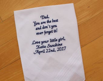Father of the Bride Hankerchief-Wedding Handkerchief-EMBROIDERED-CUSTOMIZED-Wedding-Wedding Gift-Father of the Bride Gift-favor-MS123