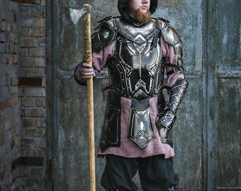 Blackened Steel LARP Armor- Dwarven Style Full Set: Cuirass, Pair of Shoulders, Pair of Bracers, Pair of Leg Greaves handcrafted custom made